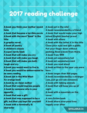 2017 Ultimate Reading Challenge by Erin @ Quillable.ca - awesome book list of everything you should read this year (and some things you shouldn't)